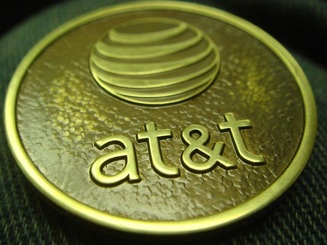 Image of AT&T gold block.