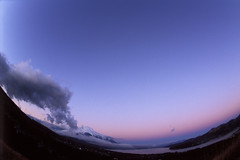 Morning of the purple sky (miwa**) Tags: 2001 morning sky mountain lake film nature japan nikon fuji purple fisheye velvia mountfuji fujisan f80 nikkor fujichrome  mtfuji yamanashi fujiyama rvp miwa yamanakako 16mmf28dfisheye