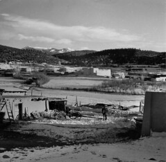 Hispanic village in the foothills of the Sangre de Cristo Mountains (John Collier Jr.) Tags: blackandwhite bw usa history classic film museum america vintage collier us photographer unitedstates propaganda wwii documentary patriotic roosevelt historic professional worldwarii 1940s archives maxwell ww2 americana civildefense patriotism archival forties largeformat anthropology homefront worldwar2 40s fsa wartime newdeal owi waryears farmsecurityadministration officeofwarinformation johncollierjr