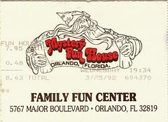 Mystery Fun House Ticket.March.23.1992 (johnhaglund) Tags: house mystery dark fun drive march major spring orlando boulevard break florida international 1992 attraction defunct