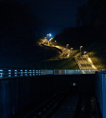 Long Stairs (JanneM) Tags: blue station japan night stairs train kyoto jan   nara kansai   morn keihanna moren  tomigaoka janmoren janmorn dwcffnight