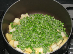 Leeks, potatoes and peas