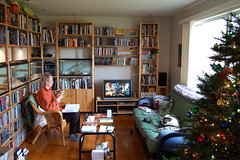 Living room on Christmas morning