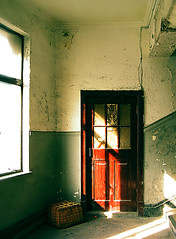 Out Of Control: My Fascination With Red Objects In China (avezink) Tags: china door city sunlight building abandoned wall peeling paint basket shanghai neglected hallway 中国 上海 shanghaiist pity texure whitewash