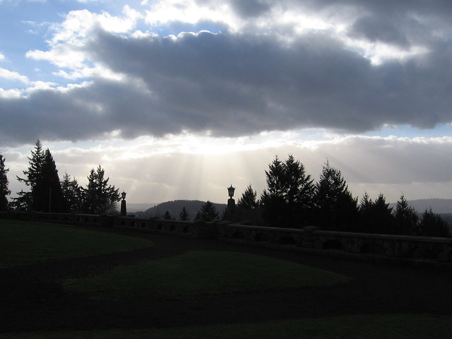 sun & clouds, rocky butte