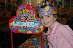 The Birthday Bash (fuzzy wuzzy) Tags: old pink girl chuckecheese happysmile fouryears