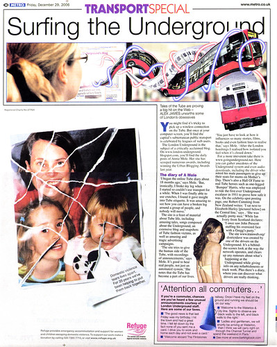 London Tube Blog in Metro December 29 2006