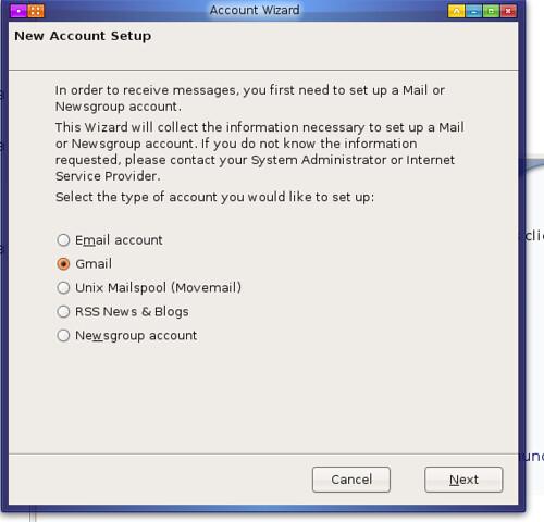 première étape de création d'un compte gmail dans Thunderbird avec l'assistant qui va bien
