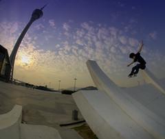 Sunset Ollie - Lee Ka Lung (wZa HK) Tags: monument skateboarding bowl fisheye explore skate skateboard skater macau transition geotag skateboarder canon30d sigma8mm hkskateboarding wzafoto macautowerspot skateboardsundays