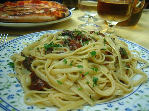Pasta with sea urchin roe - and another pizza