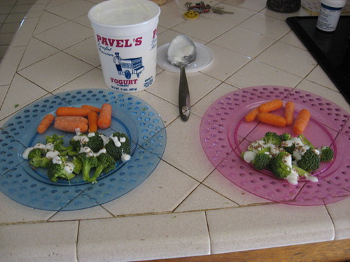todays meal, carrots, brocolli with plain yogurt sprinkled with bulgur wheat