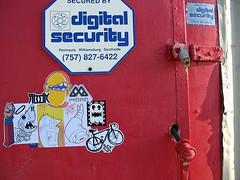 secure-unsecure (Question Josh? - SB/DSK) Tags: door streetart pez bicycle dead mono shark sticker lock atp josh stove worm hmph stek abdn werms abandonview