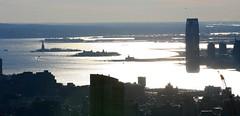 View from the Top of the Rock - Statue of Liberty, Ellis Island & the Hudson (Bill in DC) Tags: nyc jerseycity rockefellercenter 2006 hudsonriver statueofliberty topoftherock ellisisland eos5d
