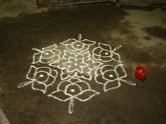 BLACK AND WHITE KOLAM GETS UPGRADED WITH COLORED ONE (G. Athimoolam) Tags: decorations ourlords blesings kolangal happypongal paintimngs