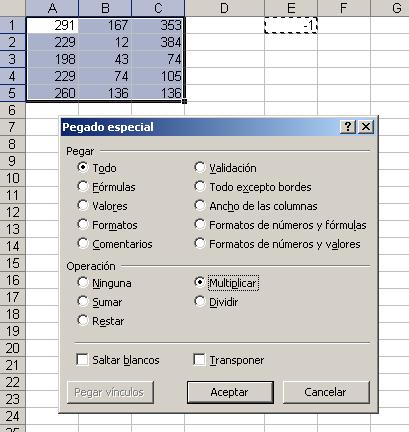 Ejemplo cambio de signo en Excel