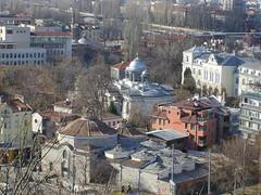 Turkish bath, church St. Cyril and Methodius and Alexander Nevsky,  Imaret mosque (Emilofero) Tags: city urban orange tower minaret mosque bulgaria oldhouses turkishbath plovdiv bulgarie   bulgaristan