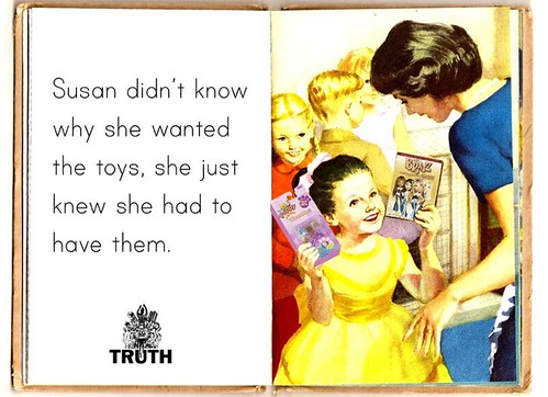 A parody of a childs Ladybird book that says - Susan didnt know why wanted the toys, she just knew she had to have them