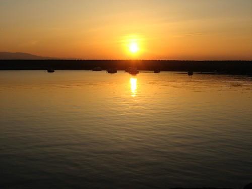 Sunset over the marina (Alapli Town, Black Sea coast of Turkey)