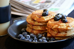 Comfort Food (Elina Innanen) Tags: morning food coffee pancakes breakfast newspaper vegan sweet sunday blueberry syrup soylatte