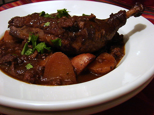 guinea hen with red wine
