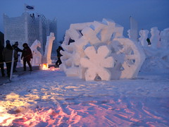 Snow Sculpture At Night