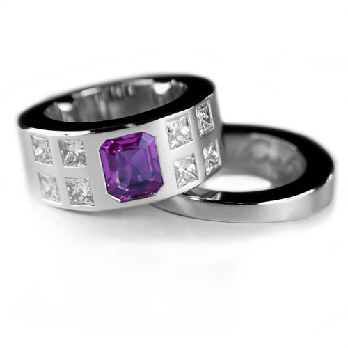 Pink sapphire with princess cut diamonds and matching wedding ring ...