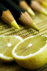 lemony (maryanne_b) Tags: yellow pencils lemon diptych