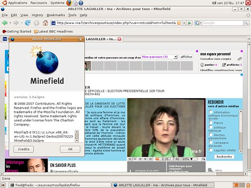 Le site de l'ina sous Ubuntu 64 bits avec le mplayerplugin
