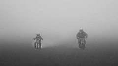 Father and Son 1st Ride (Phyllis072) Tags: bomber honda motocross ted fog mist father son