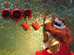 rattling those pots and pans (jovike) Tags: christmas red london mannequin window retail display selfridges jugs fryingpans