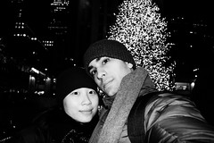 Self-Portrait with my Wife @ The Rockefeller Christmas Tree (Black and White)