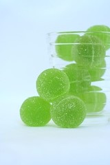 green balls of jelly (cinnamint) Tags: finnish aalto iittala fazer glassware ainoaalto greenjellies fromhelsinki marmeladimakeisia marmeladkonfekt vihreitakuulia