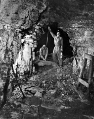 Measuring for a new tunnel (John Collier Jr.) Tags: blackandwhite bw usa history classic film museum america work vintage collier us mine photographer unitedstates propaganda wwii documentary patriotic roosevelt historic mining professional worldwarii 1940s archives maxwell ww2 americana cave civildefense patriotism archival forties largeformat anthropology homefront worldwar2 40s fsa wartime newdeal owi waryears farmsecurityadministration officeofwarinformation johncollierjr