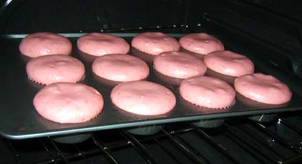 Strawberry Cupcakes in the Oven