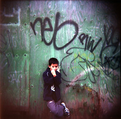 Rude boy (andyaldridge) Tags: colour adam london 120 film mediumformat river graffiti canal holga grafitti walk rude squareformat maybe christmaseve thewall ealing grandunioncanal hanwell 2fingers ilmuro twofingers w7 riverbrent xmas2006 diycolour