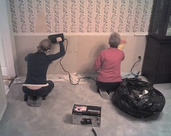 Kathy and Katie working on stripping the wallpaper