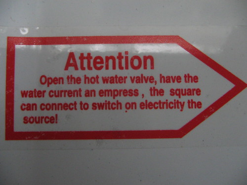 Open the hot water valve, have the water current an empress, the square can connect to switch on electricity the source!