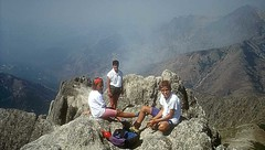 En famille, au sommet de la Punta dell'Oriente