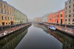 Moyka River, Russia (` Toshio ') Tags: water fog buildings reflections river stpetersburg boats colorful russia hdr moika toshio
