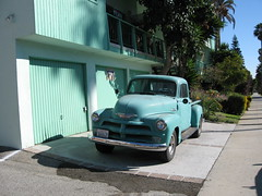 Green truck with matching garage. (cherylkatz) Tags: green cars truck vintage santamonica aquala canonpowershotsd900