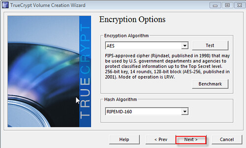 Choosing File Encryption of AES