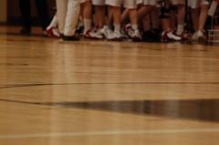Hardwood (Angel Maldonado) Tags: school girls basketball shoes paint floor nike gym hardwood kneebrace covenantlife