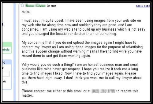 One such webmaster did so, and look what response he got from one guy who ...