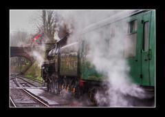 Alresford Station HDR (strussler) Tags: bridge england wet rain train canon eos 350d carriage tracks sigma railway hampshire steam locomotive hdr alresford watercressline midhantsrailway singleimage newalresford impressedbeauty