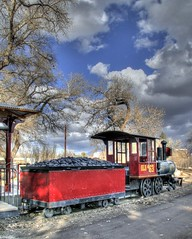 Leaving the Station (JoelDeluxe) Tags: winter red newmexico train zoo albuquerque nm joeldeluxe hdr biopark