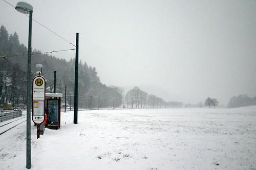 Empty tram station