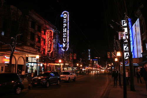 Granville Street at night