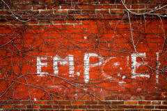 "in my head, this always says ""EMPIRE!"" (JJParé) Tags: deleteme5 deleteme8 toronto deleteme deleteme2 deleteme3 deleteme4 deleteme6 deleteme9 deleteme7 graffiti deleteme10 brickwalls empire everyday alleys onmyway thealleyiwalkthrough tothebusstop"