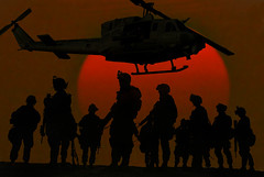 Devil Dogs (rcvernors) Tags: sunset red sun silhouette collage usmc photoshop chopper marine war desert iraq digitalart flight helicopter computerart soldiers troops aw nightvision weapons allrightsreserved supportourtroops grunts usmarine photoshopart devildogs warishell instantfave thefewtheproud rcvernors