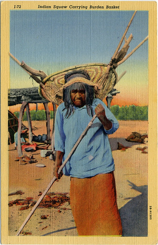 "Postcard: ""Indian Squaw Carrying Burden Basket"""